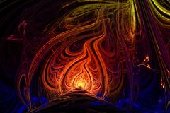 Abstract background illustration of fractal multicolored waves Stock Images