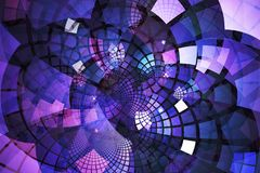 Fractal with pink and purple tiles on curving out from center Royalty Free Stock Photography