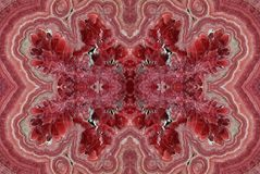 Fractal of pink red Rhodochrosite stone close up Stock Photos