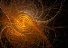 Fractal pomarańczowy abstrakt wiruje na czarnym tle Obrazy Royalty Free