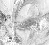 Fractal preto e branco abstrato no fundo branco Textura do fractal da fantasia Twirl vermelho de Digitas art rendição 3d Imagem g ilustração stock