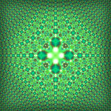 Fractal psychedelic green square pattern Stock Image