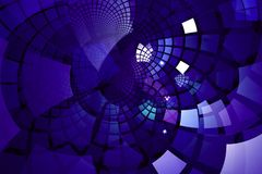 Fractal with purple tiles on curving out Stock Images