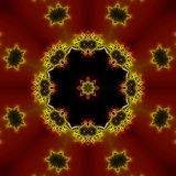 Fractal Red Black and Yellow Kaleidoscope Royalty Free Stock Photography