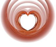 Fractal with red heart. On a white background Royalty Free Stock Photo