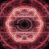 Fractal rojo Art Concept With Shining del círculo del relámpago Fotos de archivo