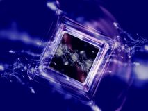 Fractal Series - Boxed Genesis. Abstract fractal illustration of box flowing in space, illustrates idea of genesis and creation Royalty Free Stock Photography