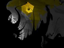 Fractal Series - Frightening Space. Abstract fractal grunge-style illustration of some dark, frightening space with a yellow hole in it. Has copy space stock illustration