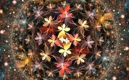 Fractal star flower background Stock Photos