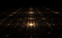 Fractal stellar surface. In the darkness of the dark space on an imaginary plane with big and small stars in luminous squares arranged symmetrically royalty free illustration