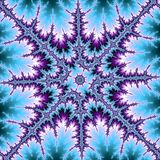 Fractal ster of sneeuwvlok in blauw en violet stock illustratie