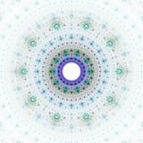 Fractal sun fantasy. Bright abstract fractal blue sun, Fractal mandala fantasy stock illustration