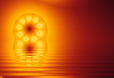 Fractal Sun, on water (fractal36b). Fractal Sun, reflected on water. Computer Generated Illustration Background Royalty Free Illustration