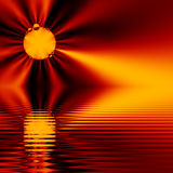 Fractal Sunset, on water (fractal16b2) Royalty Free Stock Photo