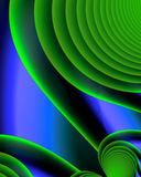 Fractal Swirls. Fractal image of green swirls on blue Royalty Free Stock Images