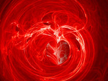 Fractal Swirly Heart on Fire Background. Bright Red Fractal Swirly Heart on Fire Background Stock Images
