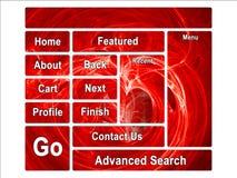 Fractal Swirly Heart on Fire Website Design Layout. Bright Red Fractal Swirly Heart on Fire Website Design Layout Stock Photos