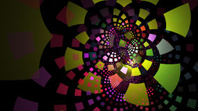 Fractal tiles in neon colors curving out in layers Stock Photography