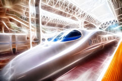 Fractal train. Fractal modern bullet train pulled into the station Royalty Free Stock Images