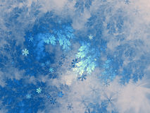 Fractal tree branches with snowflakes Stock Images