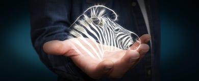 Fractal van de persoonsholding bracht gestreepte illustratie 3D renderin in gevaar Royalty-vrije Stock Fotografie