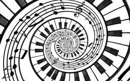 Fractal van de pianotoetsenbord gedrukte muziek abstracte spiraalvormige patroonachtergrond Zwart-witte pianosleutels om spiraal  royalty-vrije illustratie