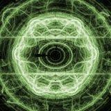 Fractal verde Art Concept With Shining del círculo del relámpago Fotos de archivo libres de regalías