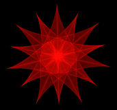 Fractal vermelho da estrela-flor Foto de Stock