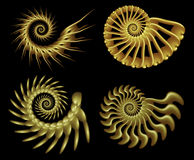 Fractal vier beweegt 2 spiraalsgewijs stock illustratie