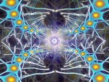 Fractal von blauen neuronalen Zellen mit einem elektrischen Signal vom Auge der Mitte stockfoto