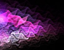 Fractal waived background. Abstract background for printed works with white and pink waves on black Stock Photography