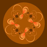 Fractal in Warm Tones. A circular fractal done in tones of brown, yellow, and orange stock illustration
