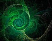 Fractal zieleni zawijasów skorupy na czarnym tle Fotografia Stock