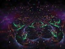 fractalabstrakt begrepp, bakgrund för ljus för begrepp för digital modell för idévetenskapsenergi futuristisk magisk, idérik desi royaltyfri illustrationer
