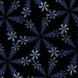 Fractalabstraktion, dekorering av snöflingor på en svart bakgrund Arkivfoton