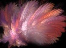 Fractalabstraktion, en rosa fjäderexplosion på svart bakgrund Fotografering för Bildbyråer