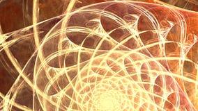 Fractalbakgrund med abstrakt guld- spiral Höjdpunkt specificerad ögla stock video