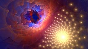 Fractalbakgrund med abstrakt rulle och den bläddrade galaxen Höjdpunkt specificerad ögla arkivfilmer
