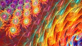 Fractalbakgrund med den abstrakt begrepp färgade blomman Specificerad höjdpunkt arkivfilmer