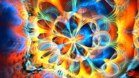 Fractalbakgrund med den kulöra galaxen för abstrakt begrepp Specificerad höjdpunkt stock video