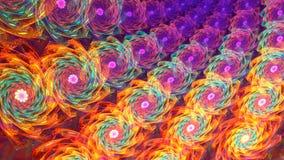 Fractalbakgrund med färgade blomman för rader den abstrakt begrepp Specificerad höjdpunkt stock video