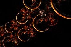 Fractale abstraite rougeoyant chaîne sphérique jaune et rouge Photos stock