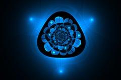 Fractale abstraite une fleur rougeoyante bleue mystérieuse Photo stock
