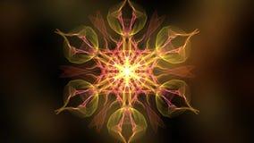 Fractale ardente éclairée à contre-jour par les réflexions ardentes, la vidéo abstraite dans la forme symétrique orange, rouge et illustration de vecteur