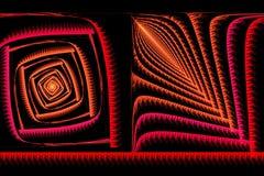 Fractale carrée abstraite rouge et orange sur le noir Images stock
