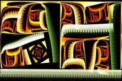 Fractale colorée carrée abstraite sur le contexte noir Photos stock