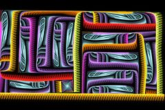 Fractale colorée lumineuse carrée abstraite sur le contexte noir Photographie stock libre de droits
