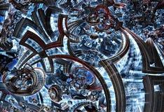 fractale 3d de la future ville Développement de civilisation dans la galaxie illustration de vecteur