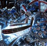 fractale 3d de la future ville Vaisseau spatial des éléments en métal illustration libre de droits