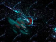 Fractale dynamique numérique, future conception noire abstraite de modèle moderne surréaliste, partie, carte, de fête illustration de vecteur